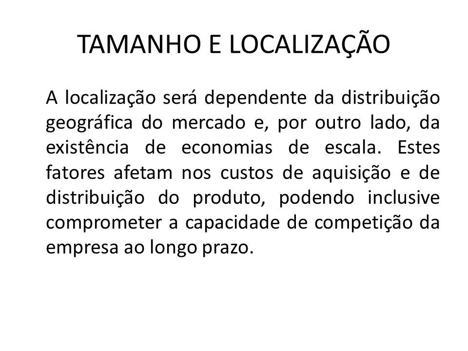 TAMANHO E LOCALIZAÇÃO A localização será dependente da distribuição geográfica do mercado e, por outro lado, da existência de economias de escala. Est