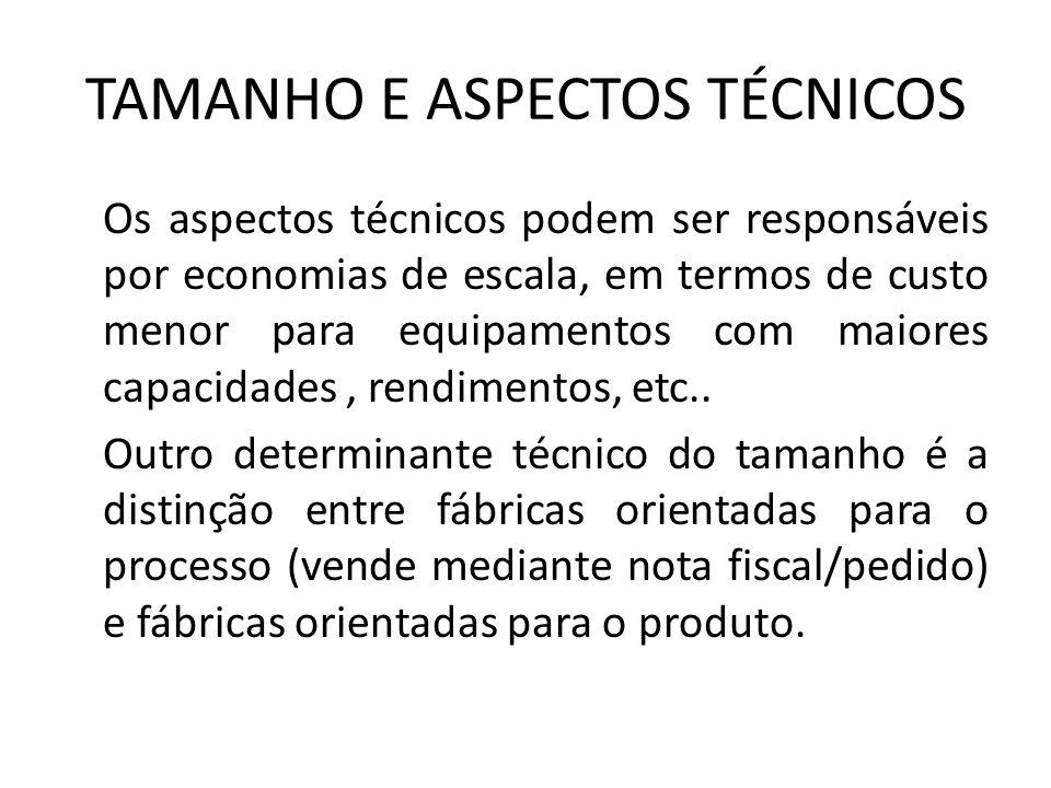 TAMANHO E ASPECTOS TÉCNICOS Os aspectos técnicos podem ser responsáveis por economias de escala, em termos de custo menor para equipamentos com maiore