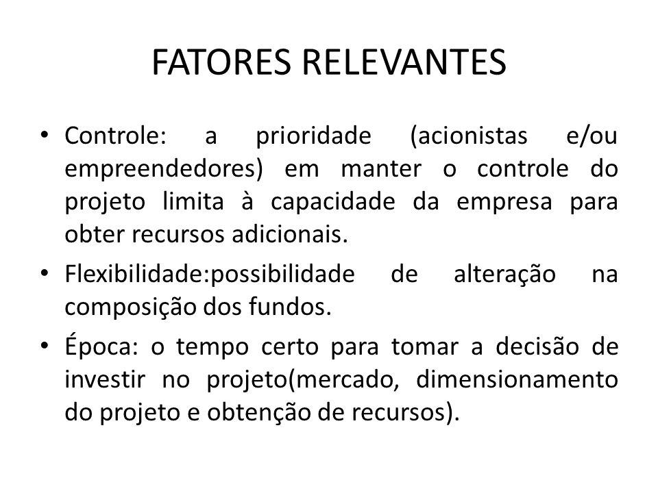 FATORES RELEVANTES Controle: a prioridade (acionistas e/ou empreendedores) em manter o controle do projeto limita à capacidade da empresa para obter r