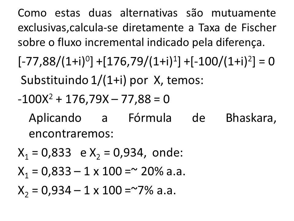Como estas duas alternativas são mutuamente exclusivas,calcula-se diretamente a Taxa de Fischer sobre o fluxo incremental indicado pela diferença. [-7