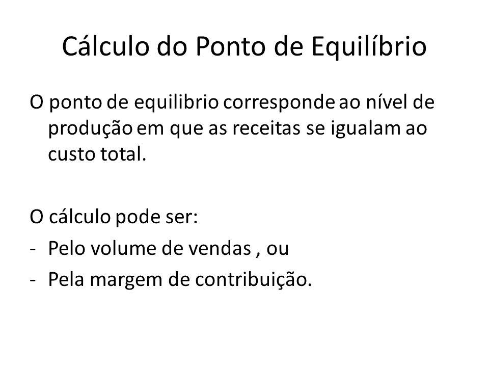 Cálculo do Ponto de Equilíbrio O ponto de equilibrio corresponde ao nível de produção em que as receitas se igualam ao custo total. O cálculo pode ser