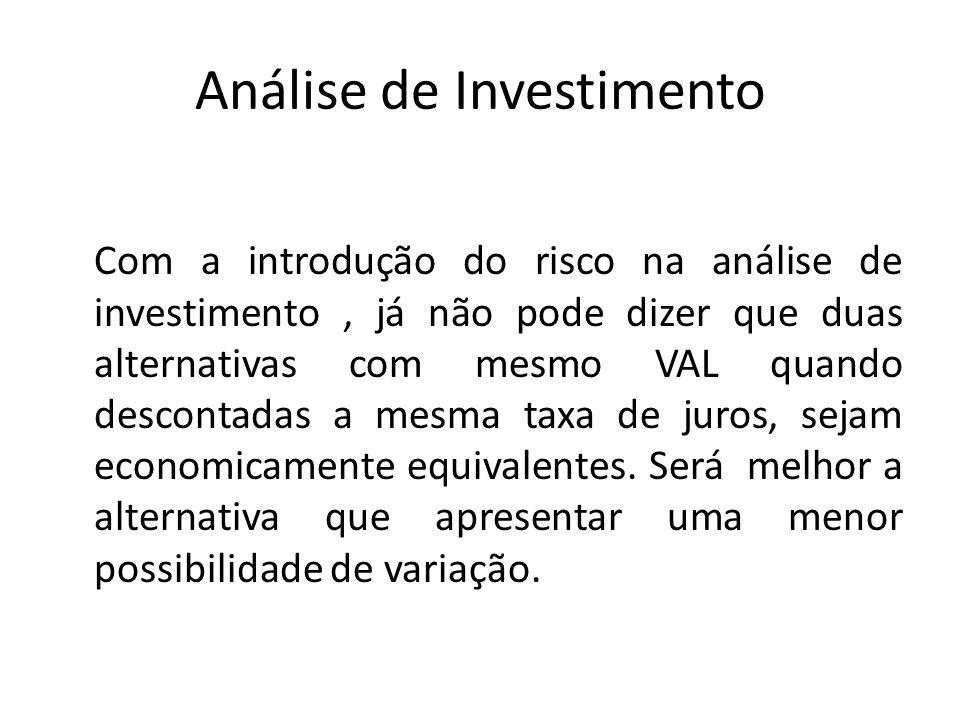 Análise de Investimento Com a introdução do risco na análise de investimento, já não pode dizer que duas alternativas com mesmo VAL quando descontadas