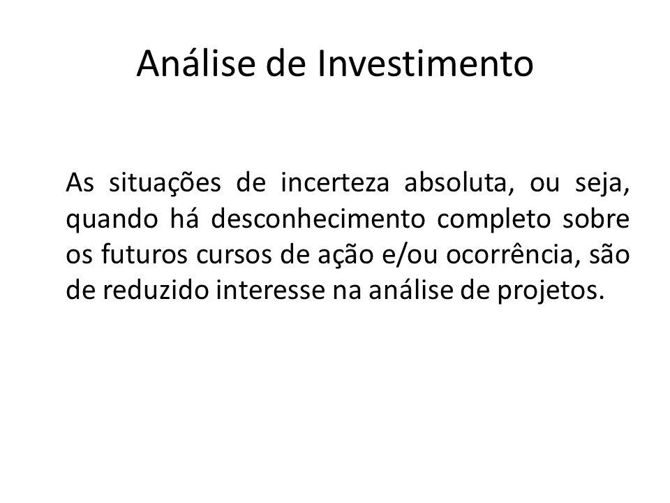 Análise de Investimento As situações de incerteza absoluta, ou seja, quando há desconhecimento completo sobre os futuros cursos de ação e/ou ocorrênci