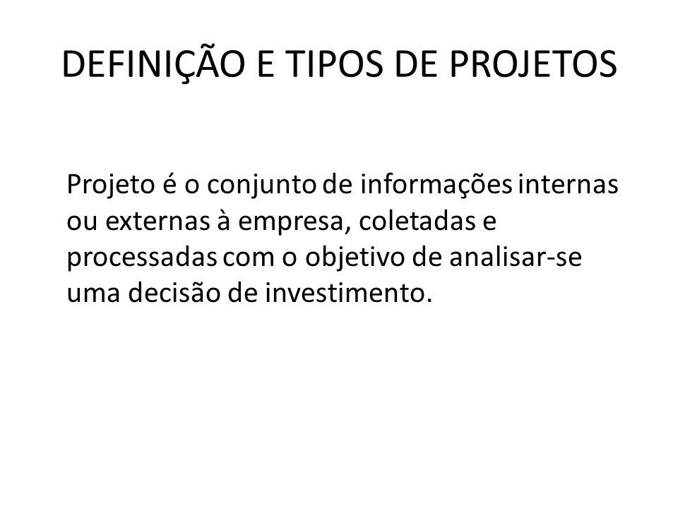 DEFINIÇÃO E TIPOS DE PROJETOS Projeto é o conjunto de informações internas ou externas à empresa, coletadas e processadas com o objetivo de analisar-s