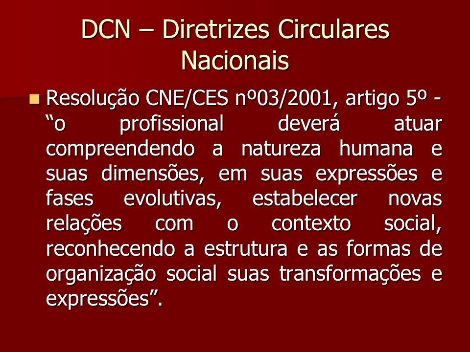DCN – Diretrizes Circulares Nacionais Resolução CNE/CES nº03/2001, artigo 5º - o profissional deverá atuar compreendendo a natureza humana e suas dime