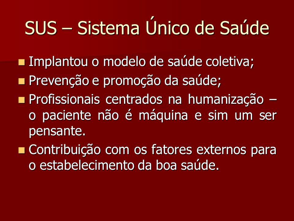 SUS – Sistema Único de Saúde Implantou o modelo de saúde coletiva; Implantou o modelo de saúde coletiva; Prevenção e promoção da saúde; Prevenção e pr