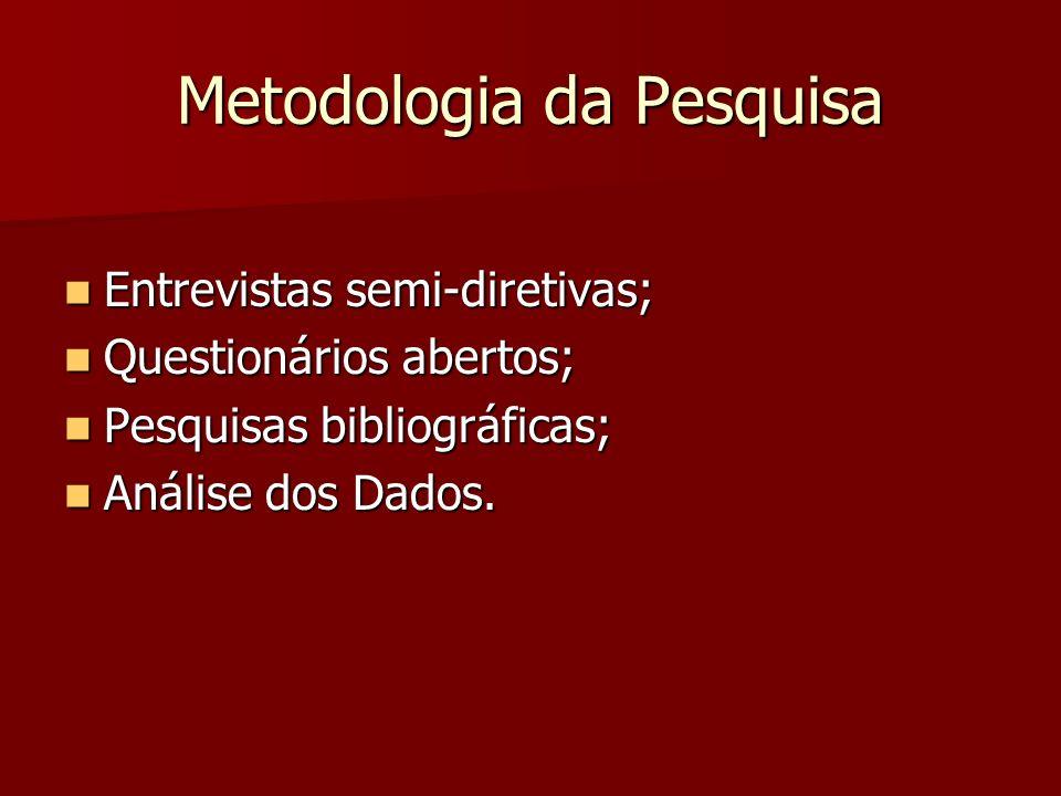 Metodologia da Pesquisa Entrevistas semi-diretivas; Entrevistas semi-diretivas; Questionários abertos; Questionários abertos; Pesquisas bibliográficas