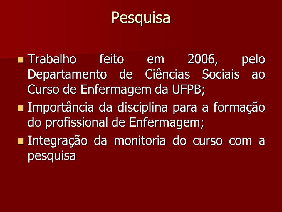 Pesquisa Trabalho feito em 2006, pelo Departamento de Ciências Sociais ao Curso de Enfermagem da UFPB; Trabalho feito em 2006, pelo Departamento de Ci