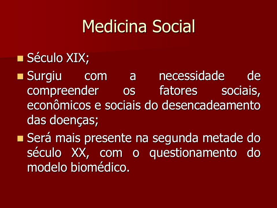 Medicina Social Século XIX; Século XIX; Surgiu com a necessidade de compreender os fatores sociais, econômicos e sociais do desencadeamento das doença
