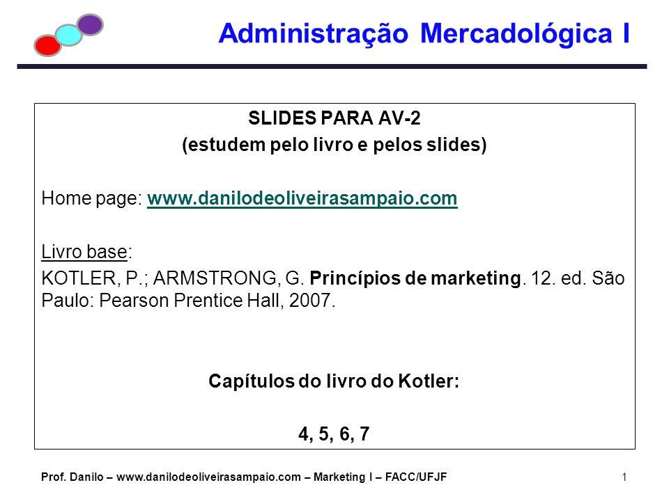 Administração Mercadológica I SLIDES PARA AV-2 (estudem pelo livro e pelos slides) Home page: www.danilodeoliveirasampaio.comwww.danilodeoliveirasampa