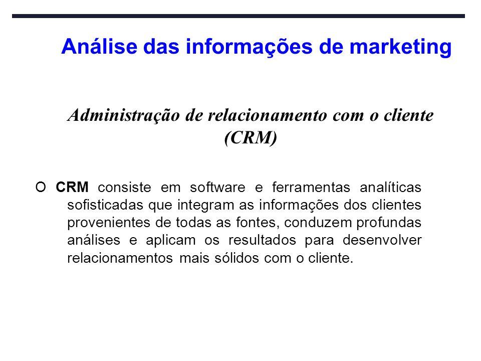 Análise das informações de marketing O CRM consiste em software e ferramentas analíticas sofisticadas que integram as informações dos clientes proveni
