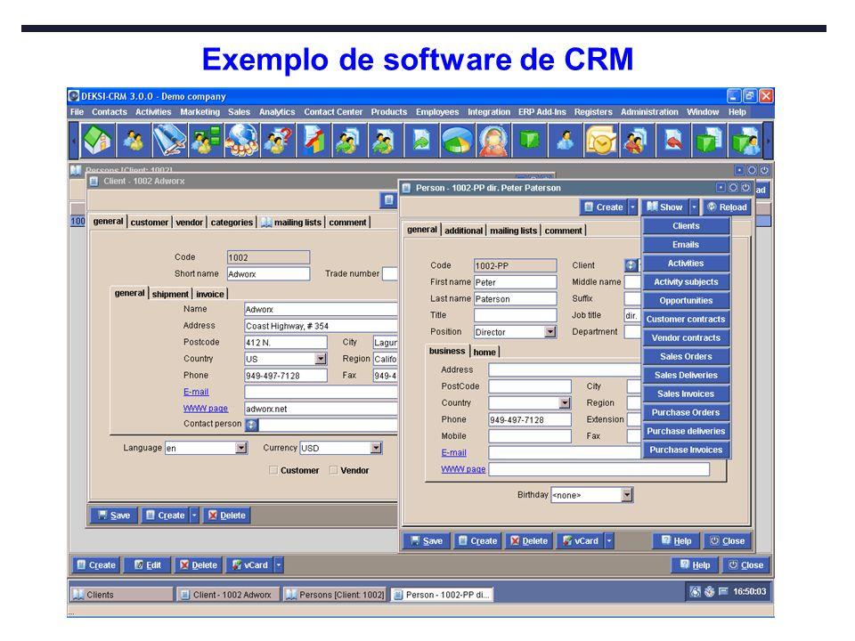 Exemplo de software de CRM