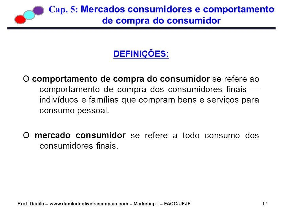 Cap. 5: Mercados consumidores e comportamento de compra do consumidor Prof. Danilo – www.danilodeoliveirasampaio.com – Marketing I – FACC/UFJF17 DEFIN