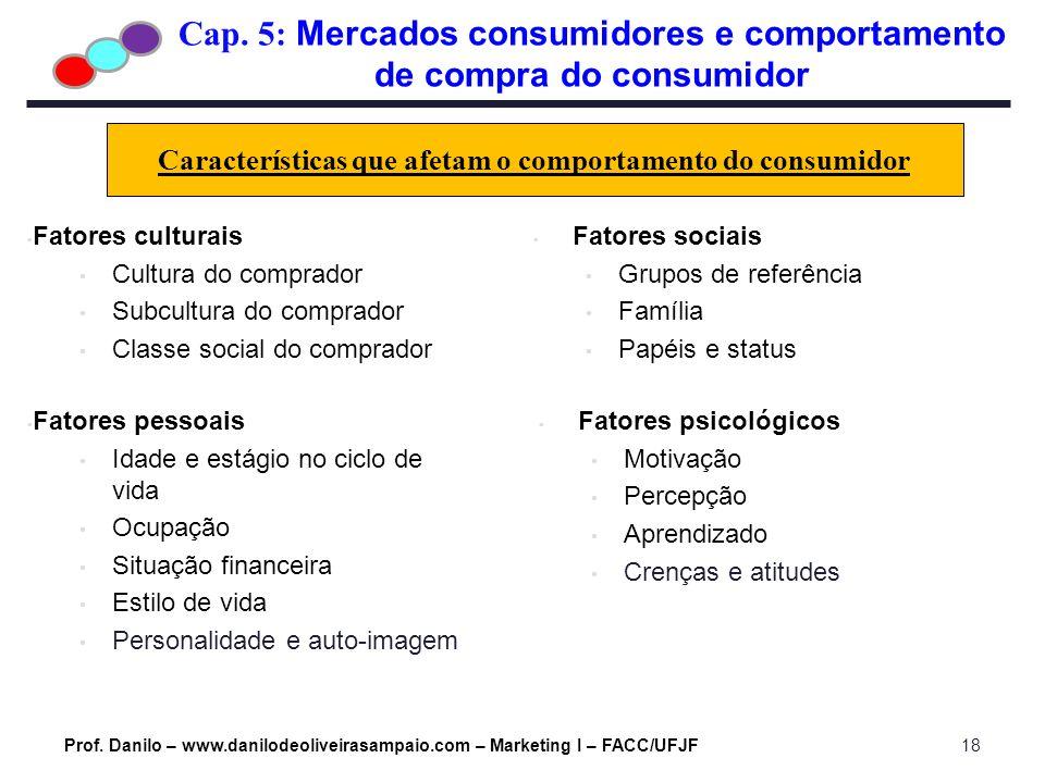 Cap. 5: Mercados consumidores e comportamento de compra do consumidor Prof. Danilo – www.danilodeoliveirasampaio.com – Marketing I – FACC/UFJF18 Carac