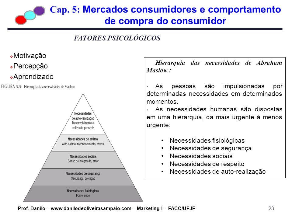 Cap. 5: Mercados consumidores e comportamento de compra do consumidor Prof. Danilo – www.danilodeoliveirasampaio.com – Marketing I – FACC/UFJF23 FATOR