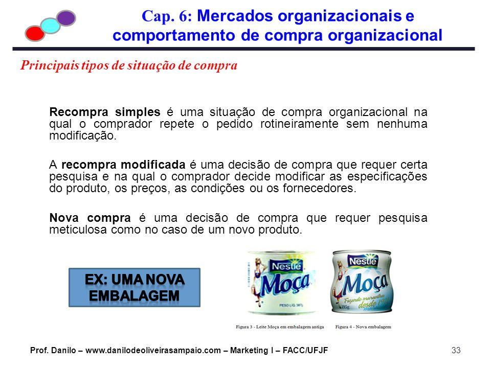 Cap. 6: Mercados organizacionais e comportamento de compra organizacional Prof. Danilo – www.danilodeoliveirasampaio.com – Marketing I – FACC/UFJF33 P