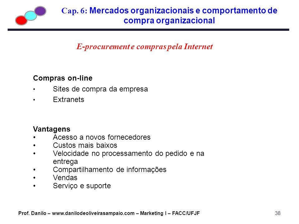 Cap. 6: Mercados organizacionais e comportamento de compra organizacional Prof. Danilo – www.danilodeoliveirasampaio.com – Marketing I – FACC/UFJF38 C