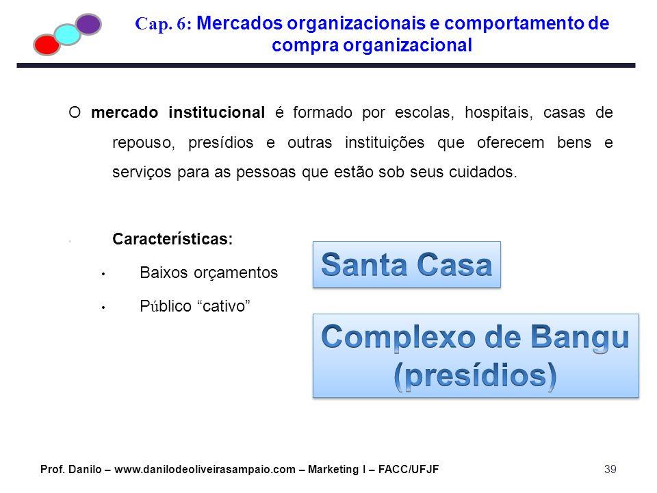 Cap. 6: Mercados organizacionais e comportamento de compra organizacional Prof. Danilo – www.danilodeoliveirasampaio.com – Marketing I – FACC/UFJF39 O