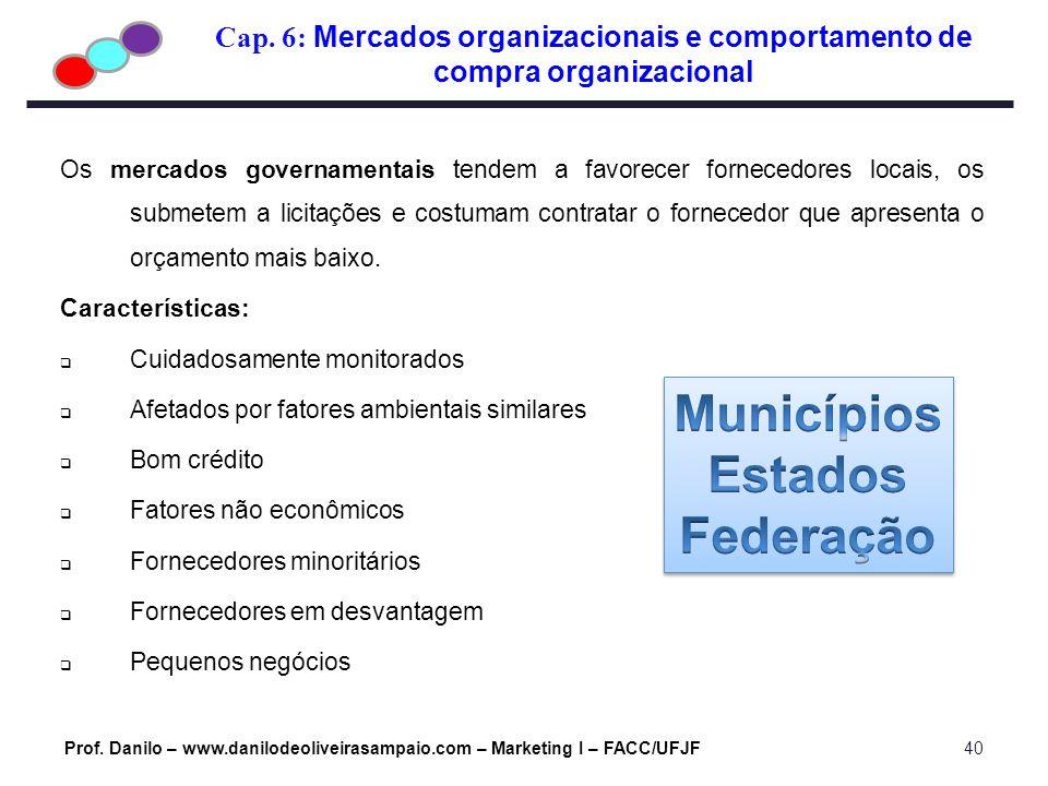 Cap. 6: Mercados organizacionais e comportamento de compra organizacional Prof. Danilo – www.danilodeoliveirasampaio.com – Marketing I – FACC/UFJF40 O