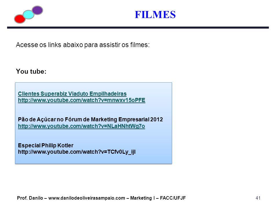 FILMES Prof. Danilo – www.danilodeoliveirasampaio.com – Marketing I – FACC/UFJF41 Acesse os links abaixo para assistir os filmes: You tube: