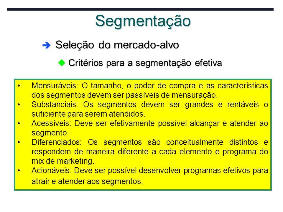 Segmentação Mensuráveis: O tamanho, o poder de compra e as características dos segmentos devem ser passíveis de mensuração. Substanciais: Os segmentos