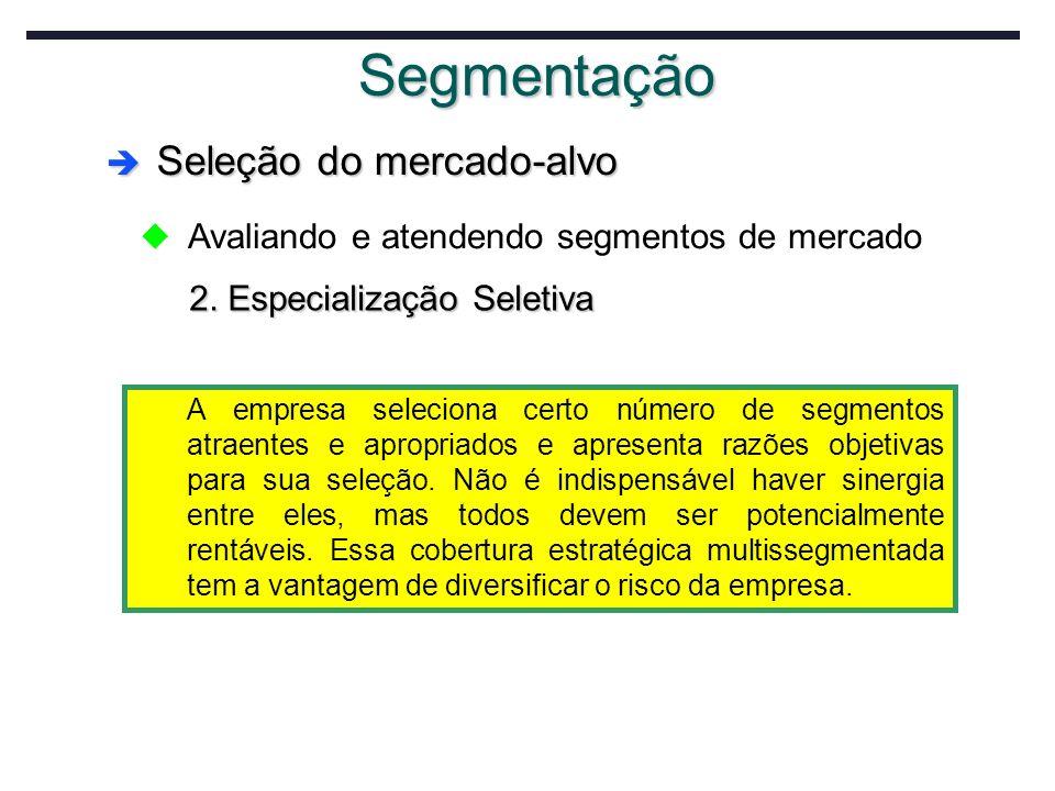 Segmentação Seleção do mercado-alvo Seleção do mercado-alvo u Avaliando e atendendo segmentos de mercado 2. Especialização Seletiva A empresa selecion