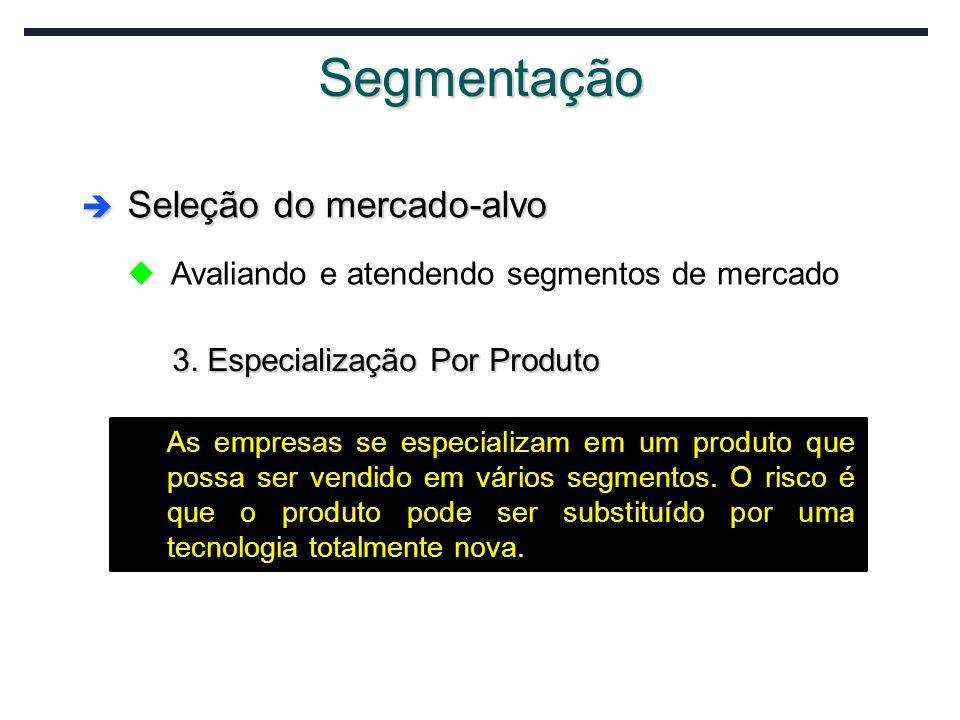 Segmentação Seleção do mercado-alvo Seleção do mercado-alvo u Avaliando e atendendo segmentos de mercado 3. Especialização Por Produto As empresas se