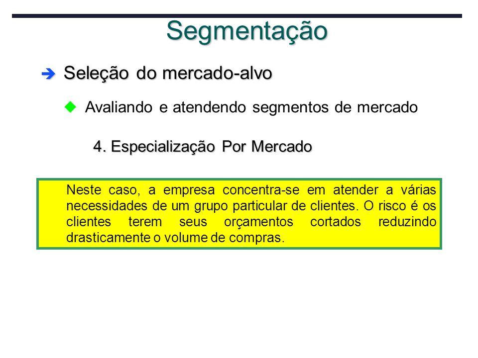 Segmentação Seleção do mercado-alvo Seleção do mercado-alvo u Avaliando e atendendo segmentos de mercado 4. Especialização Por Mercado Neste caso, a e