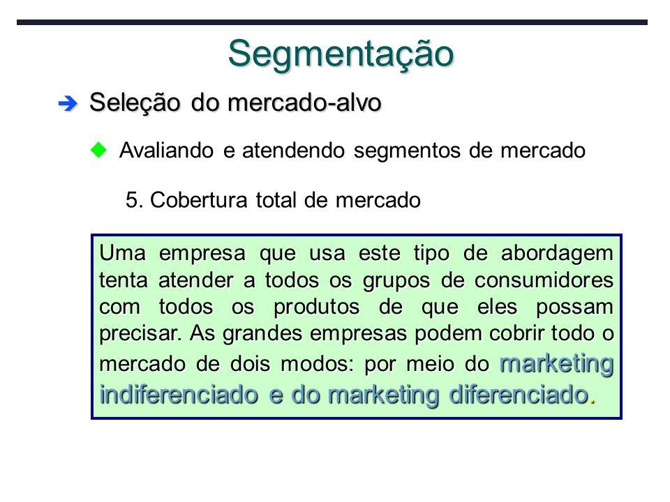Segmentação Seleção do mercado-alvo Seleção do mercado-alvo u Avaliando e atendendo segmentos de mercado 5. Cobertura total de mercado Uma empresa que