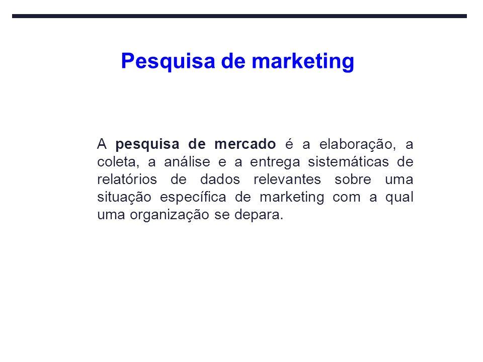 Pesquisa de marketing A pesquisa de mercado é a elaboração, a coleta, a análise e a entrega sistemáticas de relatórios de dados relevantes sobre uma s