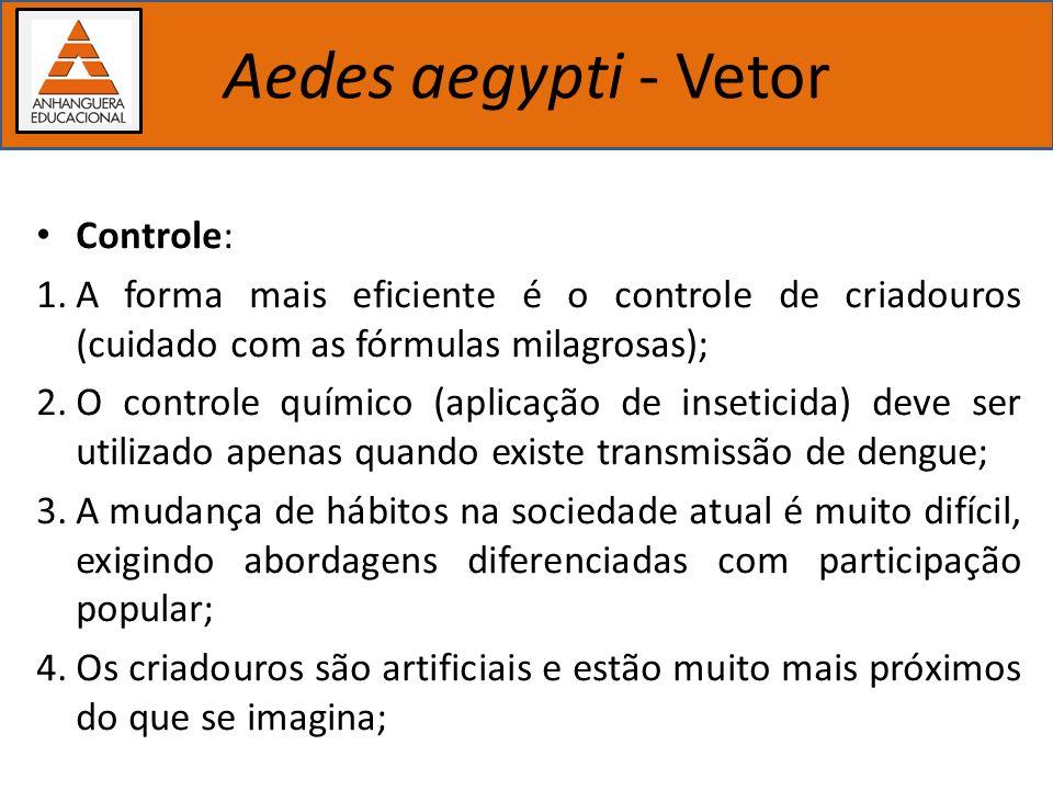 Importância dos estudos biológicos Aedes aegypti - Vetor Controle: 1.A forma mais eficiente é o controle de criadouros (cuidado com as fórmulas milagr