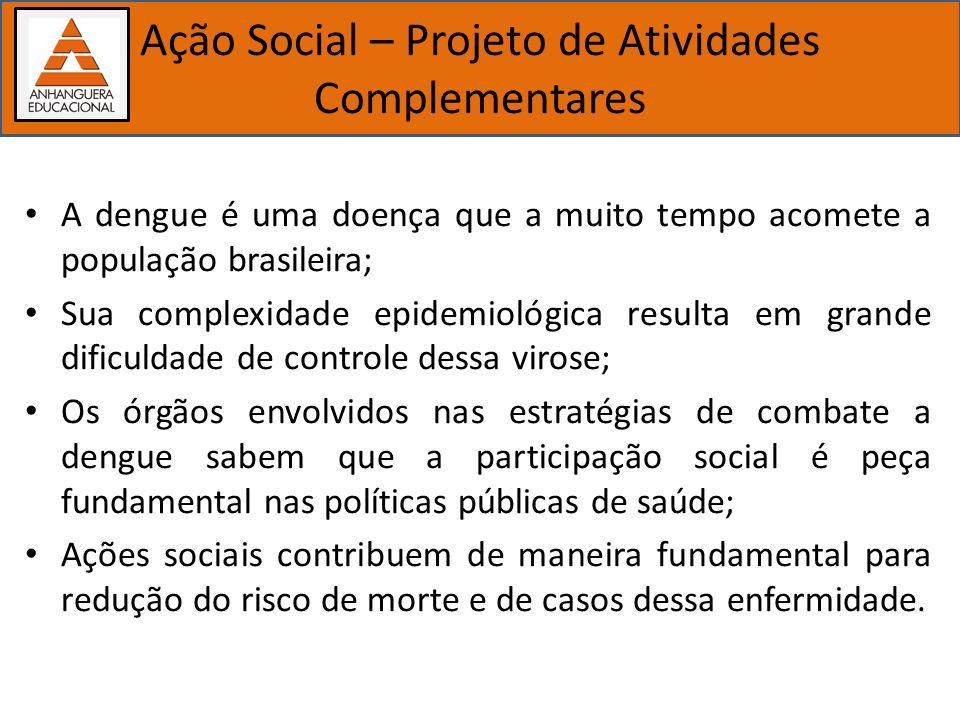 Importância dos estudos biológicos Ação Social – Projeto de Atividades Complementares A dengue é uma doença que a muito tempo acomete a população bras