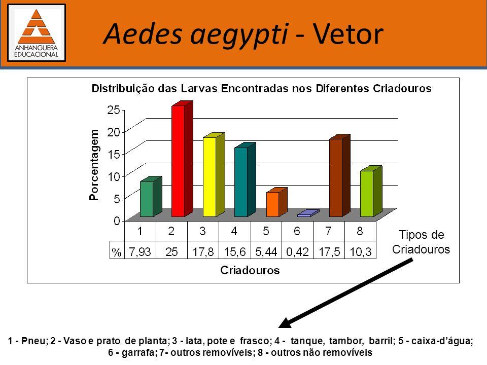 Importância dos estudos biológicos Aedes aegypti - Vetor Tipos de Criadouros 1 - Pneu; 2 - Vaso e prato de planta; 3 - lata, pote e frasco; 4 - tanque