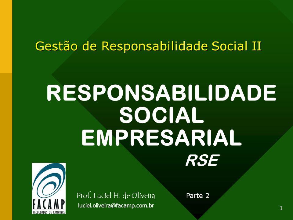 1 RESPONSABILIDADE SOCIAL EMPRESARIAL RSE Gestão de Responsabilidade Social II Parte 2 Prof. Luciel H. de Oliveira luciel.oliveira@facamp.com.br