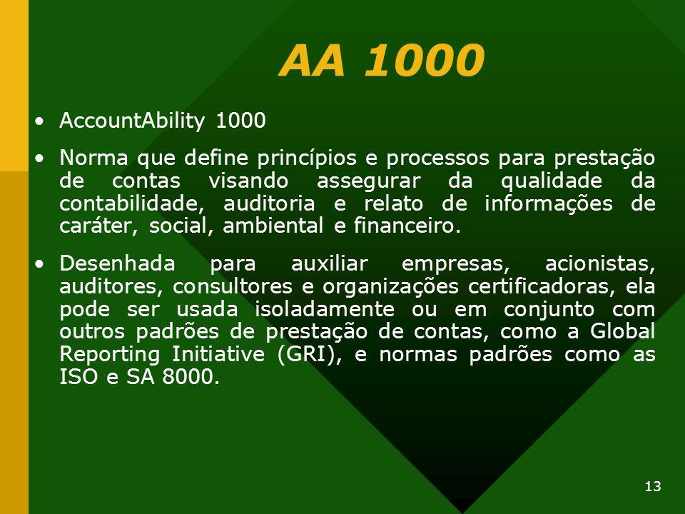 13 AA 1000 AccountAbility 1000 Norma que define princípios e processos para prestação de contas visando assegurar da qualidade da contabilidade, audit