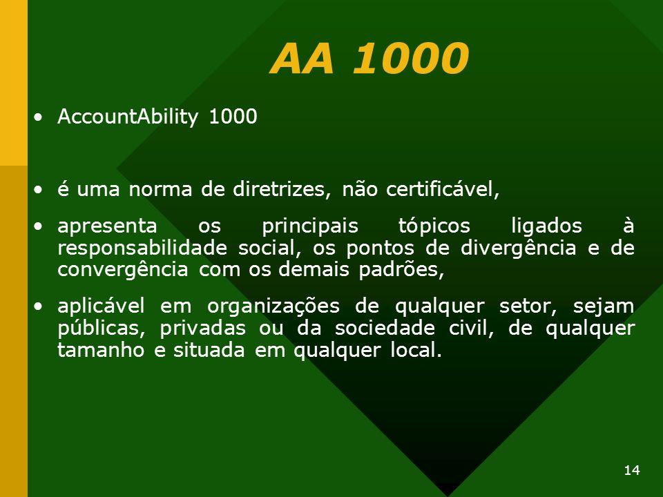 14 AA 1000 AccountAbility 1000 é uma norma de diretrizes, não certificável, apresenta os principais tópicos ligados à responsabilidade social, os pont