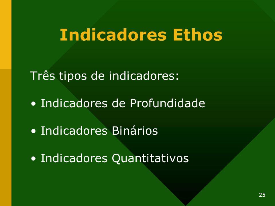 25 Indicadores Ethos Três tipos de indicadores: Indicadores de Profundidade Indicadores Binários Indicadores Quantitativos