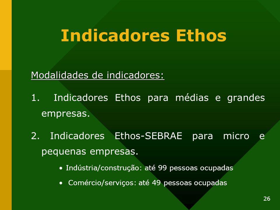 26 Indicadores Ethos Modalidades de indicadores: 1. Indicadores Ethos para médias e grandes empresas. 2. Indicadores Ethos-SEBRAE para micro e pequena