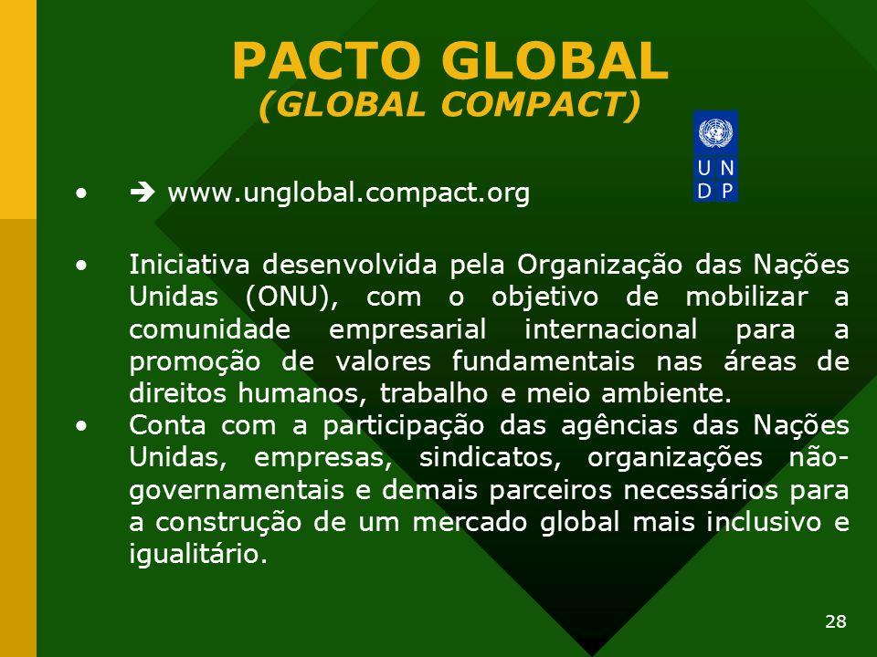 28 PACTO GLOBAL (GLOBAL COMPACT) www.unglobal.compact.org Iniciativa desenvolvida pela Organização das Nações Unidas (ONU), com o objetivo de mobiliza