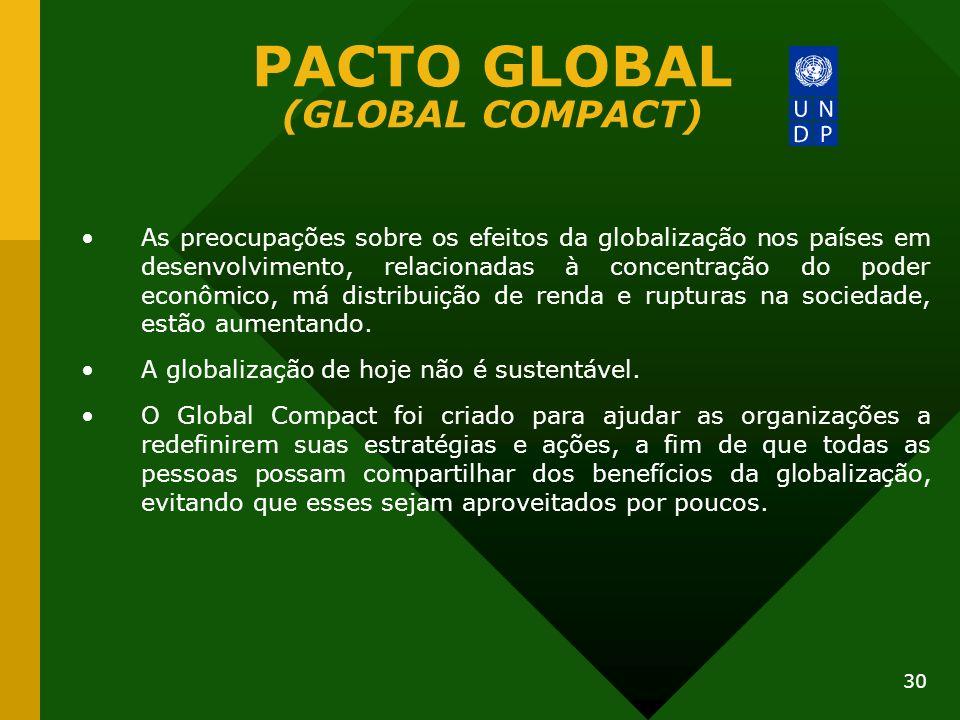 30 PACTO GLOBAL (GLOBAL COMPACT) As preocupações sobre os efeitos da globalização nos países em desenvolvimento, relacionadas à concentração do poder