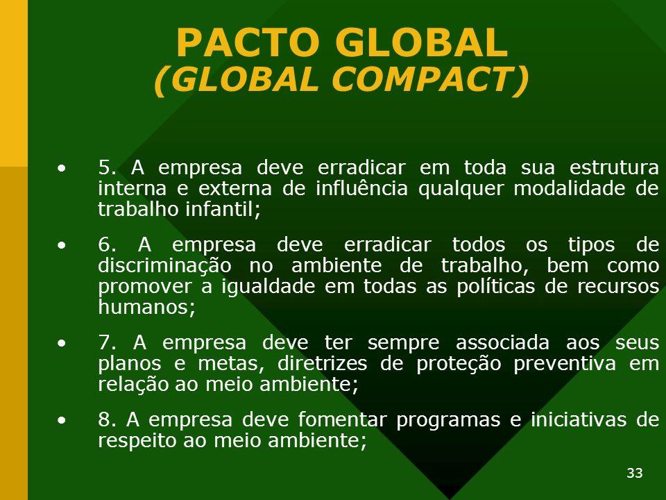 33 PACTO GLOBAL (GLOBAL COMPACT) 5. A empresa deve erradicar em toda sua estrutura interna e externa de influência qualquer modalidade de trabalho inf