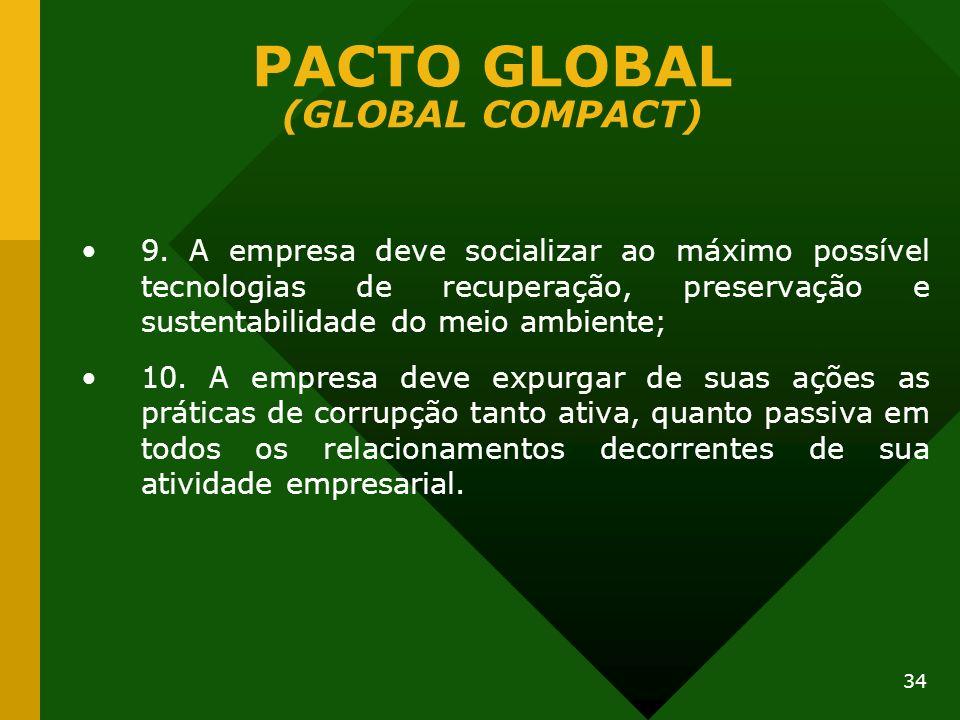 34 PACTO GLOBAL (GLOBAL COMPACT) 9. A empresa deve socializar ao máximo possível tecnologias de recuperação, preservação e sustentabilidade do meio am