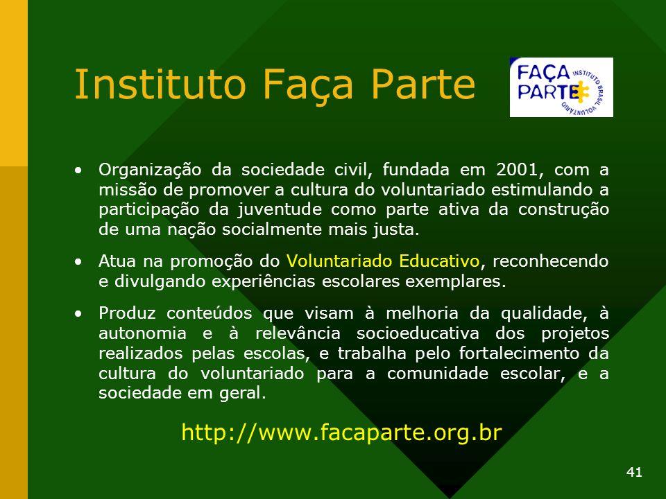 Instituto Faça Parte Organização da sociedade civil, fundada em 2001, com a missão de promover a cultura do voluntariado estimulando a participação da