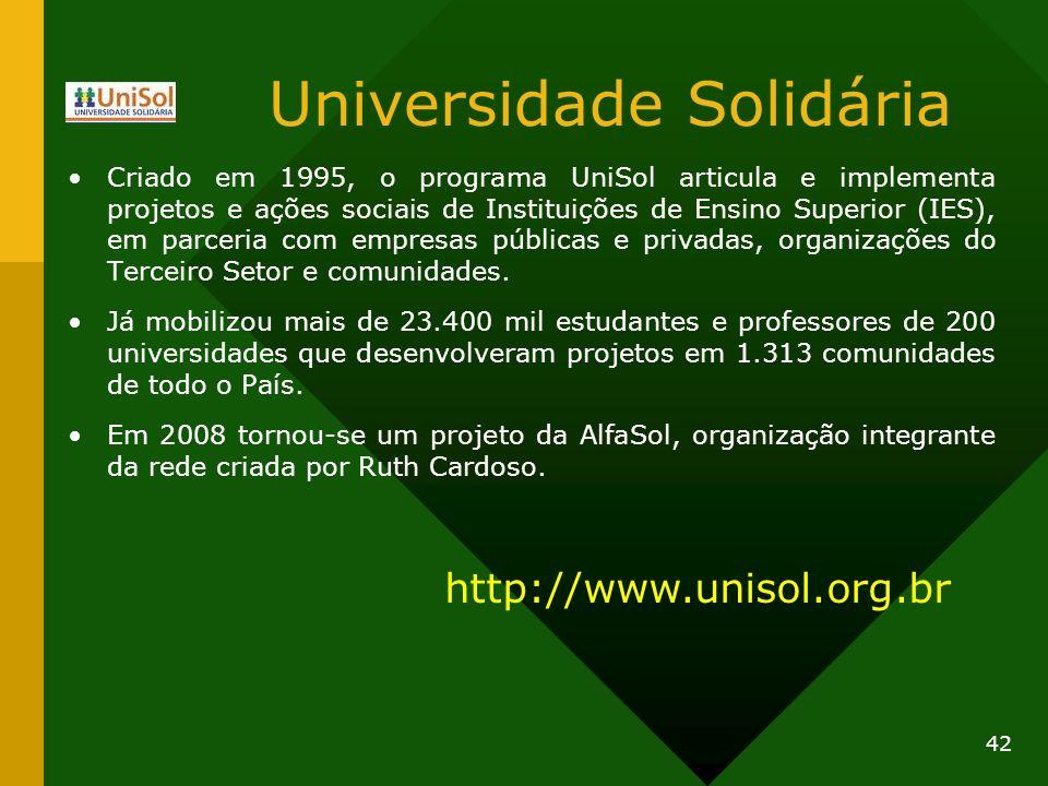 Universidade Solidária Criado em 1995, o programa UniSol articula e implementa projetos e ações sociais de Instituições de Ensino Superior (IES), em p