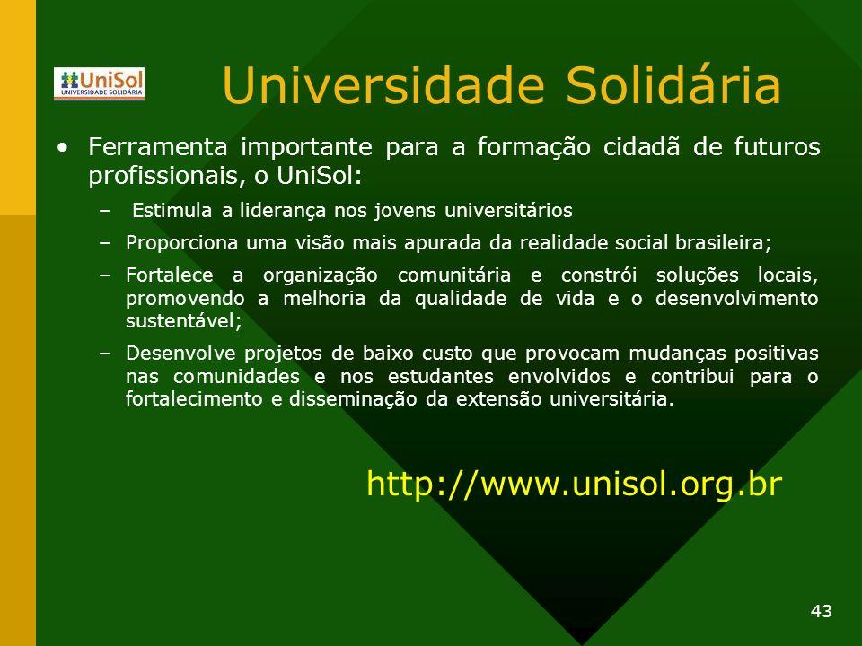 Universidade Solidária Ferramenta importante para a formação cidadã de futuros profissionais, o UniSol: – Estimula a liderança nos jovens universitári