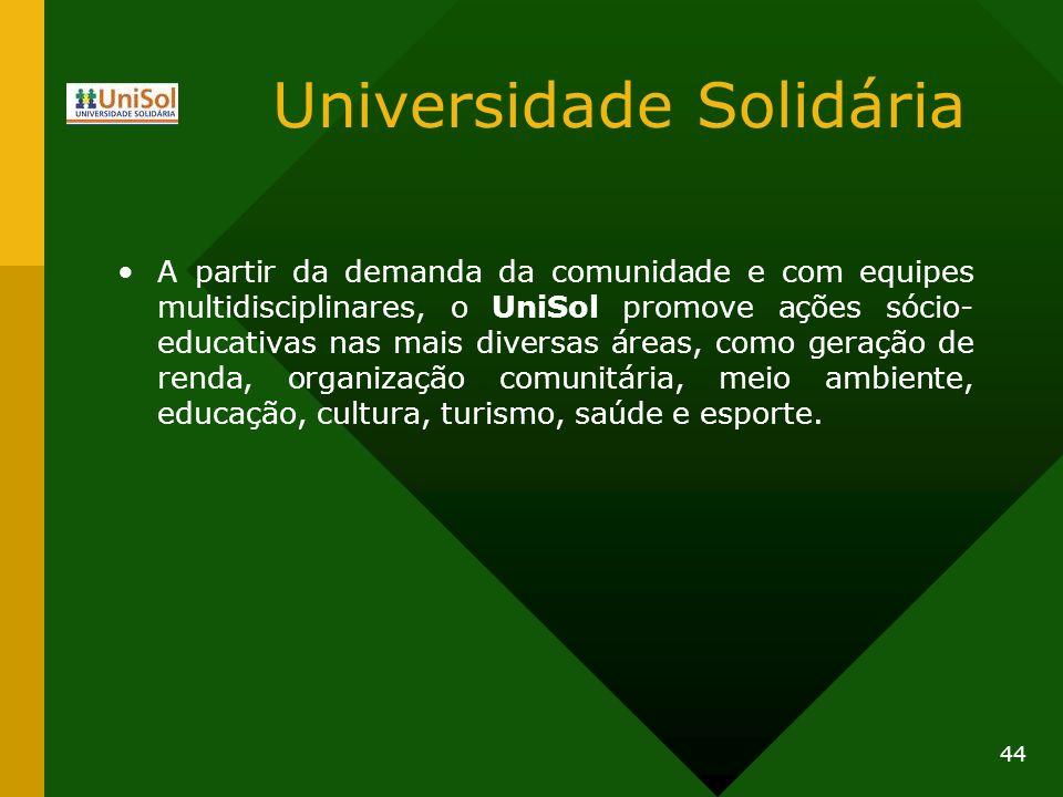 Universidade Solidária A partir da demanda da comunidade e com equipes multidisciplinares, o UniSol promove ações sócio- educativas nas mais diversas