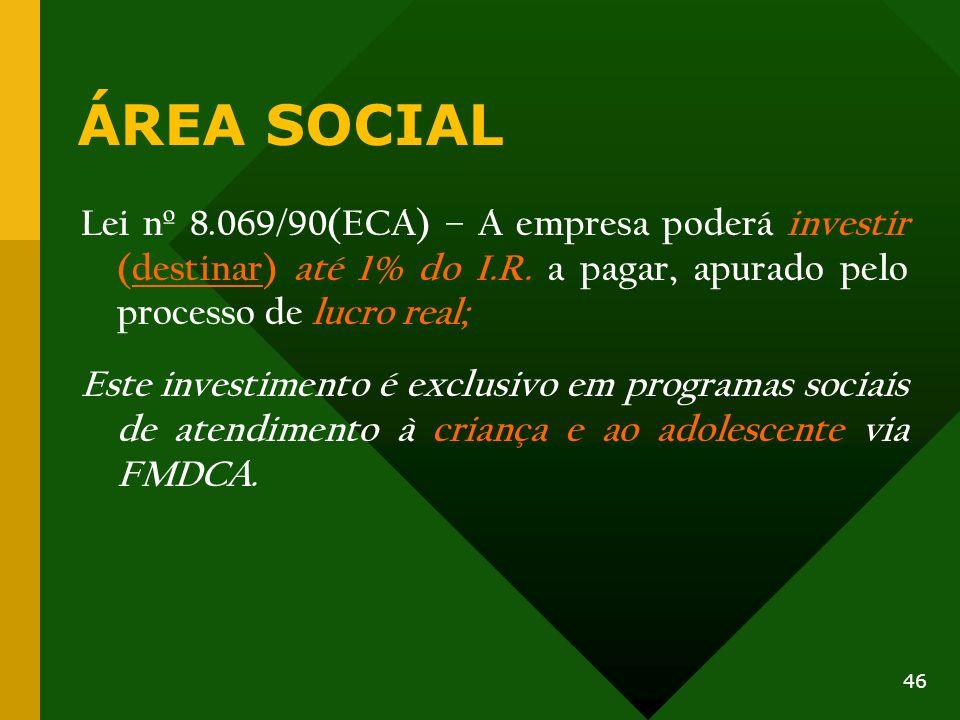 ÁREA SOCIAL Lei nº 8.069/90(ECA) – A empresa poderá investir (destinar) até 1% do I.R. a pagar, apurado pelo processo de lucro real; Este investimento