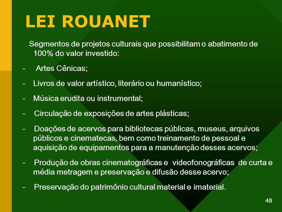 LEI ROUANET Segmentos de projetos culturais que possibilitam o abatimento de 100% do valor investido: - Artes Cênicas; -Livros de valor artístico, lit