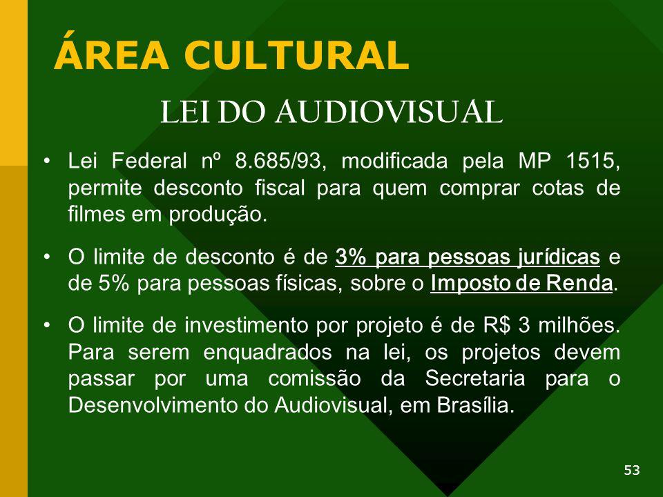 ÁREA CULTURAL LEI DO AUDIOVISUAL Lei Federal nº 8.685/93, modificada pela MP 1515, permite desconto fiscal para quem comprar cotas de filmes em produç