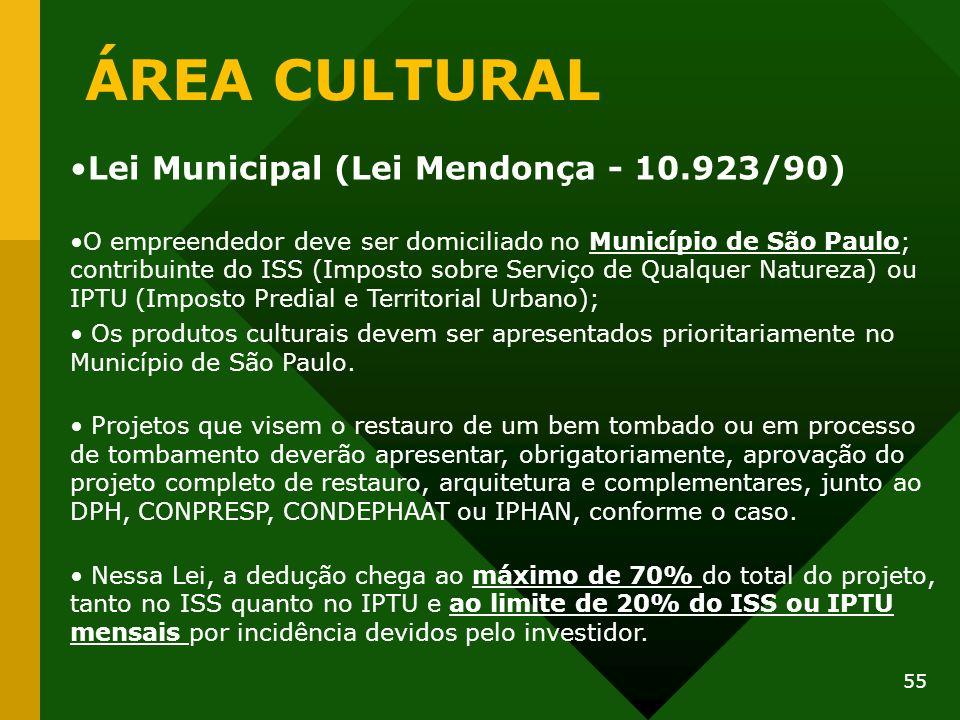 ÁREA CULTURAL Lei Municipal (Lei Mendonça - 10.923/90) O empreendedor deve ser domiciliado no Município de São Paulo; contribuinte do ISS (Imposto sob